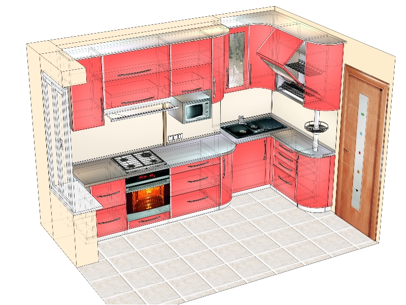 проект красной кухни