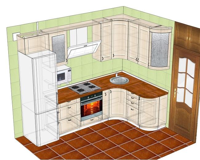 проект кухни в кирпичном доме