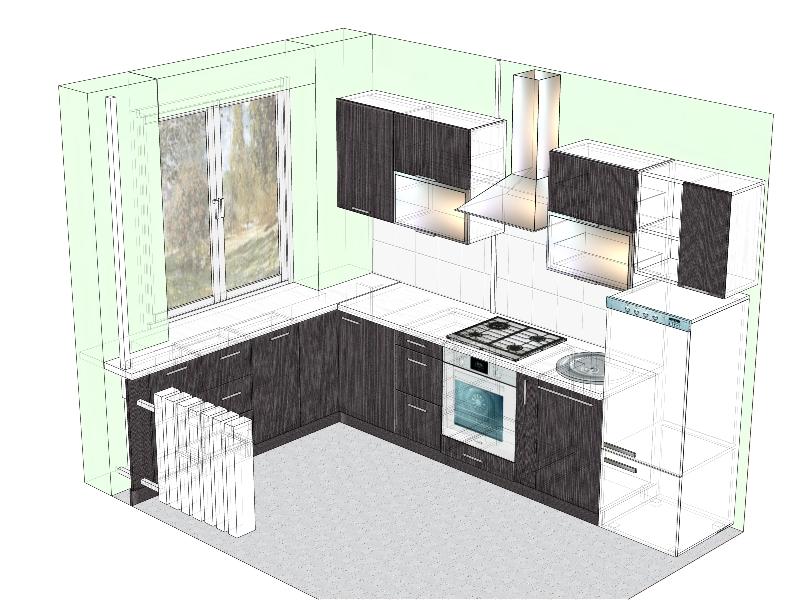 проект кухни со столешницей-подоконником