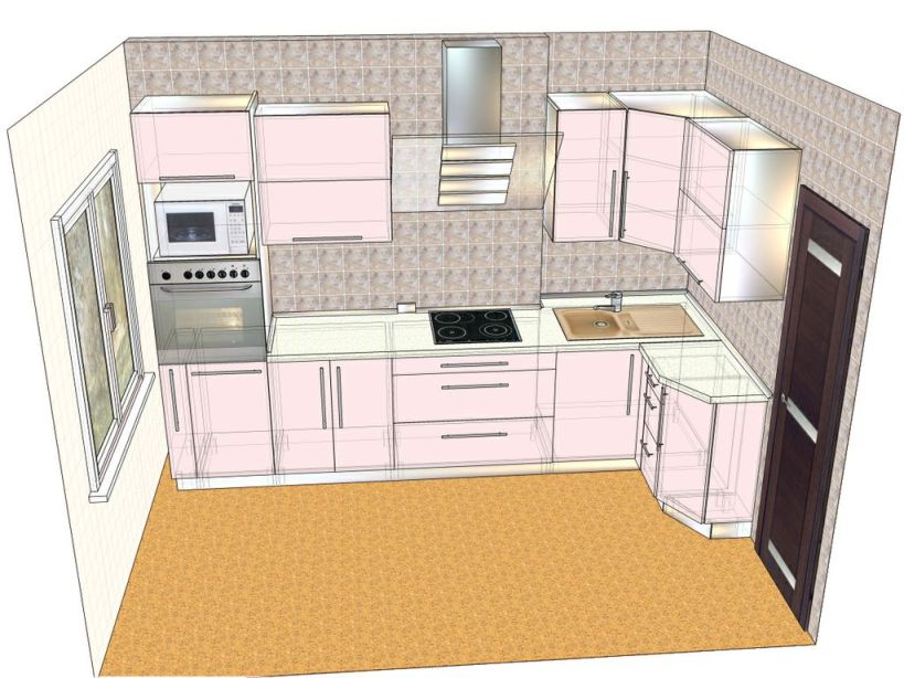 проект кухни с нишей