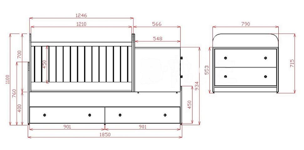 размеры кровати-манежа