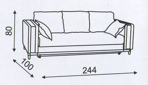 """схема размеров дивана """"Блюз"""""""
