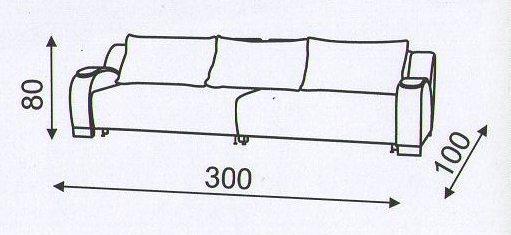 "Схема размеров дивана ""Маэстро"" шириной 3 м"