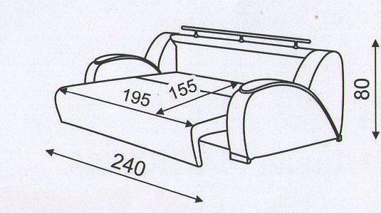 """Схема разложенного  дивана """"Маэстро"""""""