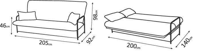"схема размеров дивана ""Аккорд Плюс"""