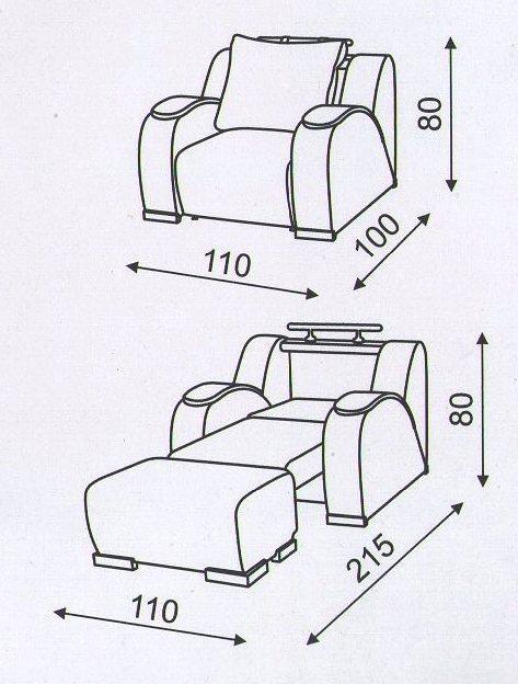 """Кресло """"Маэстро"""": схема размеров"""