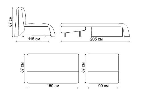 "схема размеров дивана ""Саша"""