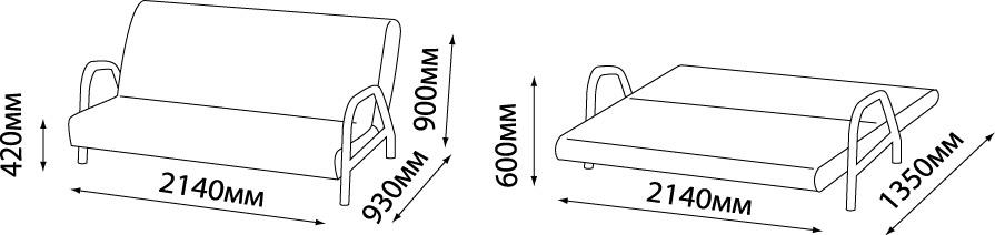 размеры дивана Fusion Comfort с подлокотниками