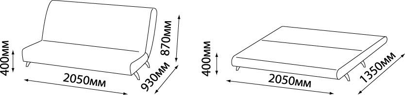 размеры дивана Fusion Comfort без подлокотников
