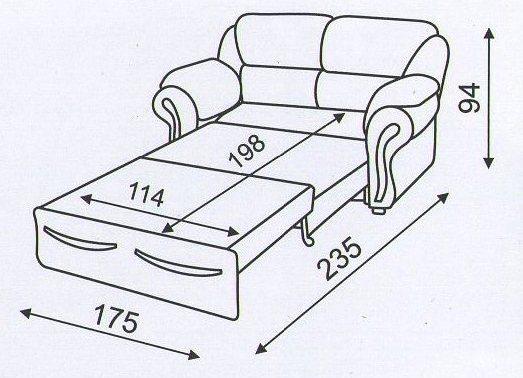 """схема разложенного дивана """"Трапеза"""""""