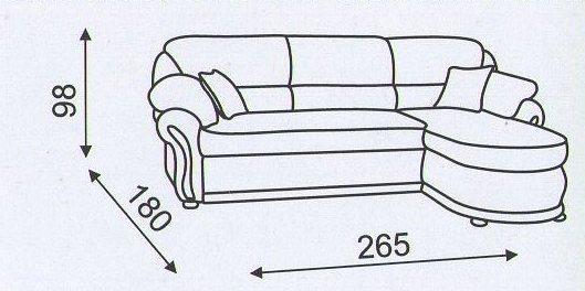 "Схема размеров углового дивана ""Амфора-2"""