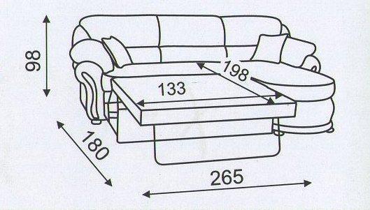 """Схема разложенного  углового дивана """"Амфора-2"""""""