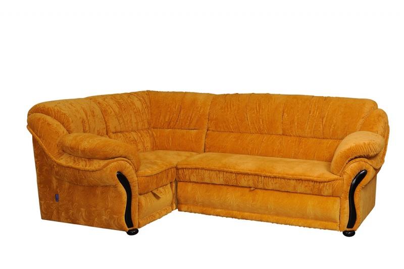 """Угловой диван """"Амфора""""  в желтом флоке с тиснением"""