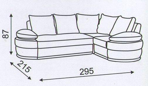 """Схема размеров углового дивана """"Калейдоскоп"""""""
