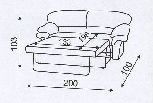"схема дивана ""Вива"" в разложенном виде"