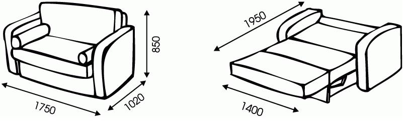 "Схема размеров дивана ""Американка"" от ""Ромира"""