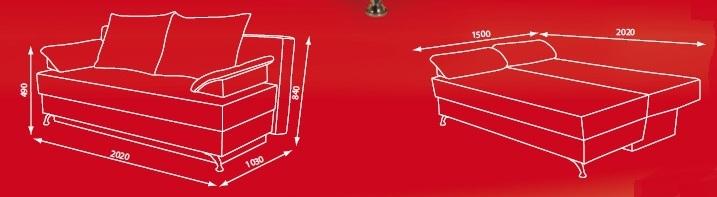 """Схема размеров дивана  """"Корсика"""" от  """"Вияс"""""""