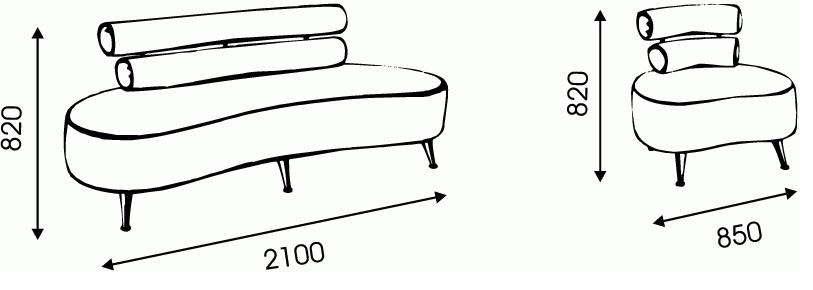 """Схема размеров дивана """"Элегант"""""""