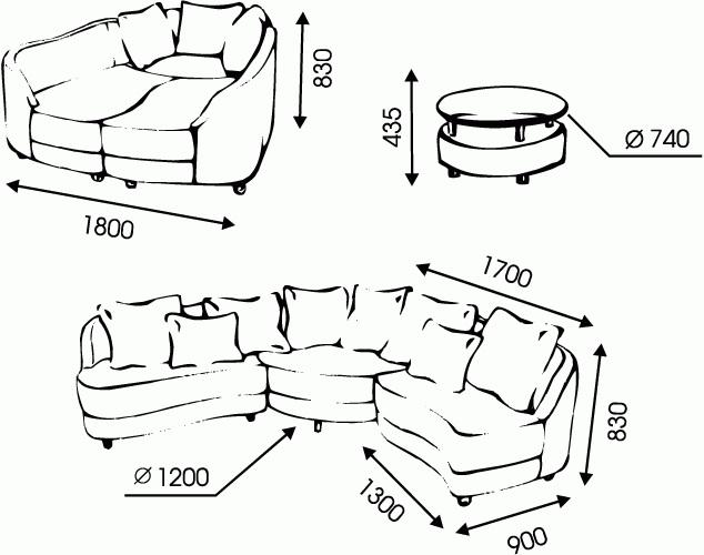 """Схема размеров дивана """"Элит"""" от """"Ромира"""""""