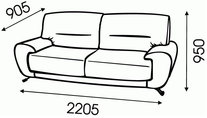"""Схема размеров дивана """"Эксклюзив"""" от """"Ромира"""""""
