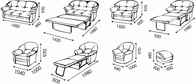 "Схема размеров дивана ""Гранд"" от ""Ромира"";"