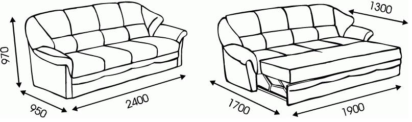 "Схема размеров дивана ""Гранд 4"" от ""Ромира"";"