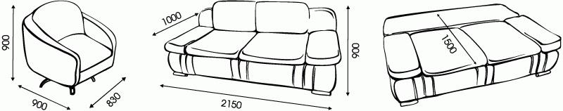 "Схема размеров дивана ""Макс"" от ""Ромира"""