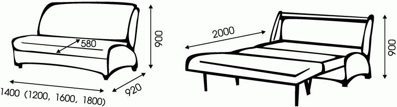 """Схема размеров дивана """"Меркурий"""" от """"Ромира"""""""