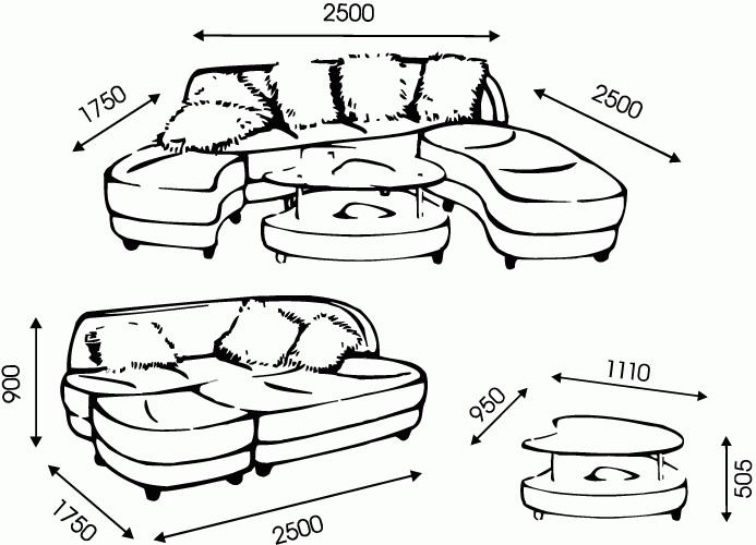 """Схема размеров дивана """"Океан"""" от """"Ромира"""""""