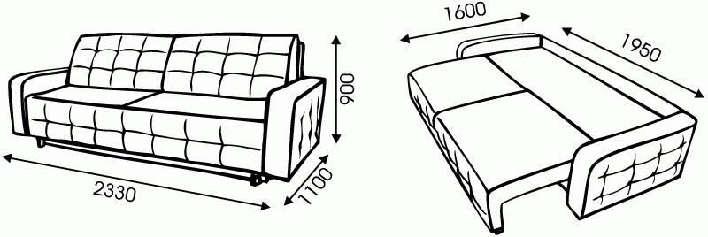 "Схема размеров дивана ""Олимп 2"" от ""Ромира"""