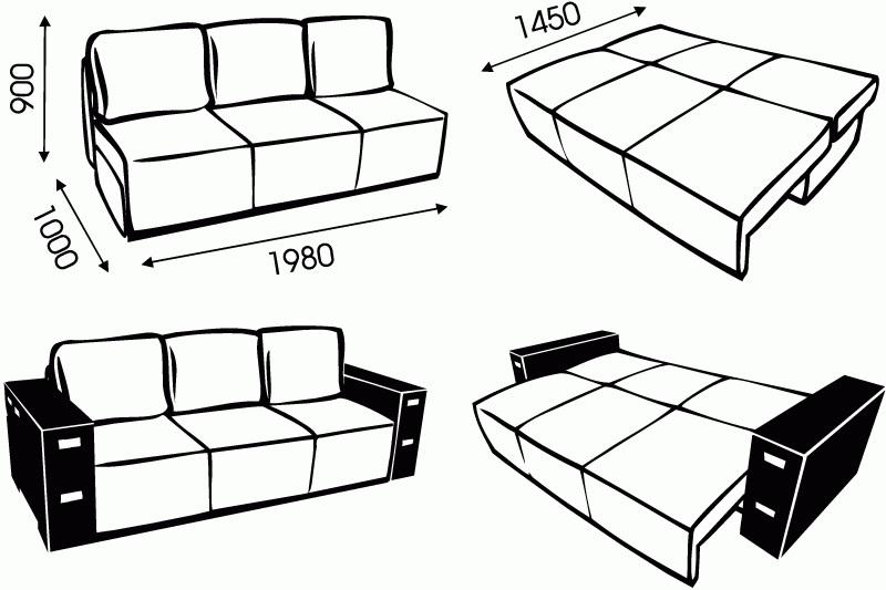 """Схема размеров дивана """"Пазл"""" от """"Ромира"""""""