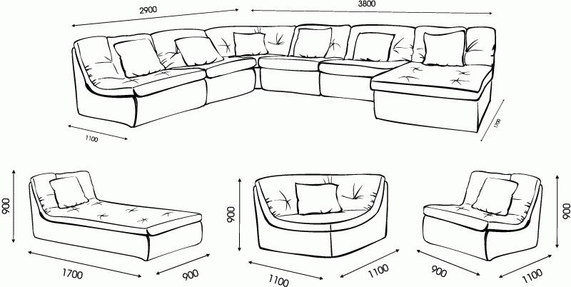 """Схема размеров модульного дивана """"Шенген"""" от """"Ромира"""""""