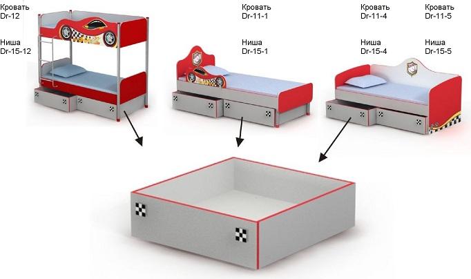 Дополнительный маленький выдвижной ящик Др-15 для детской кровати