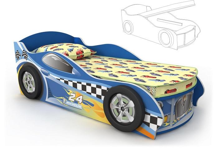Кровать-машинка синяя с подъемным механизмом