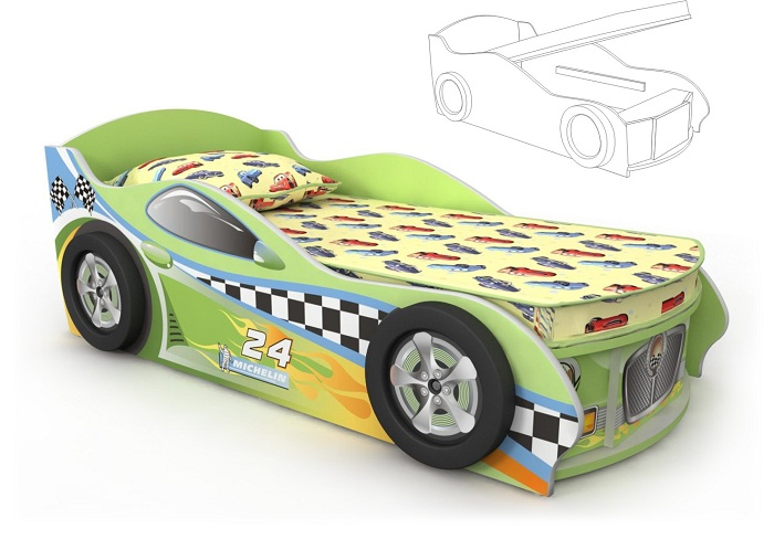 Кровать-машинка зеленая с подъемным механизмом