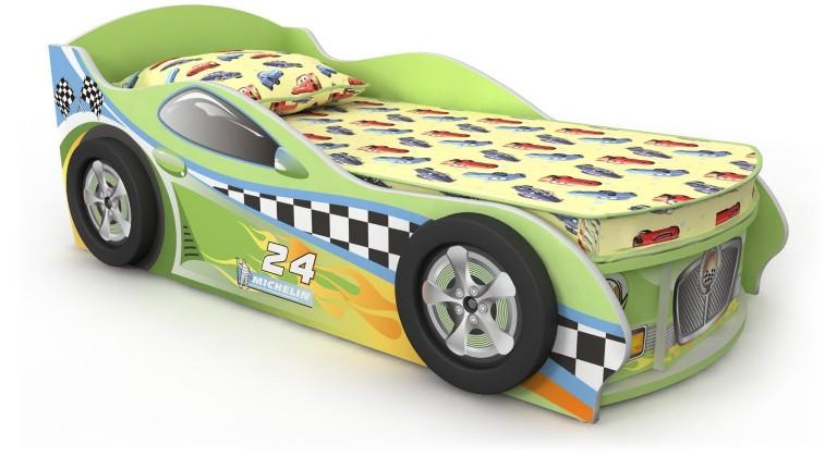 Кровать-машинка зеленая