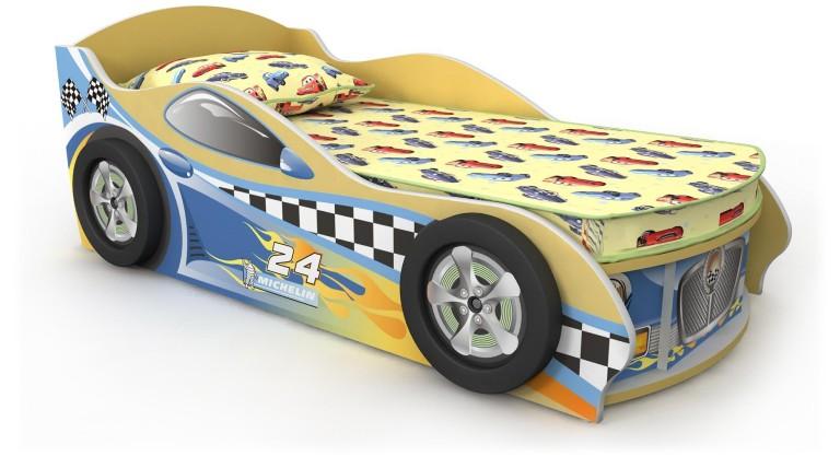 Кровать-машинка желтая с синей наклейкой