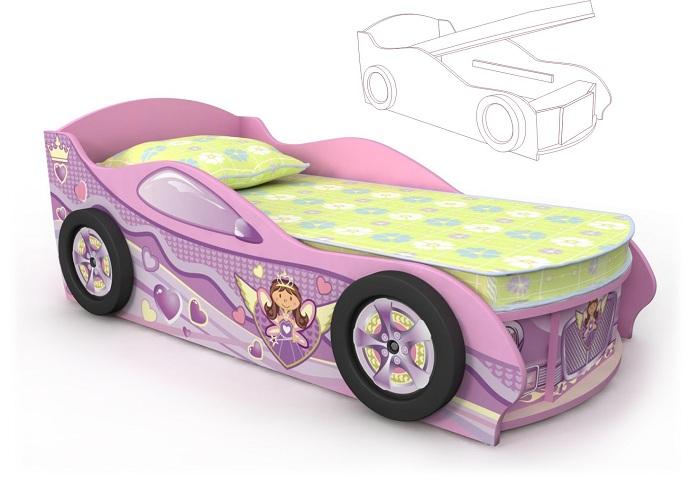 Кровать-машинка Pink для девочек с подъемным механизмом