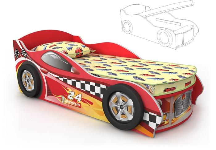 Кровать-машинка красная с подъемным механизмом