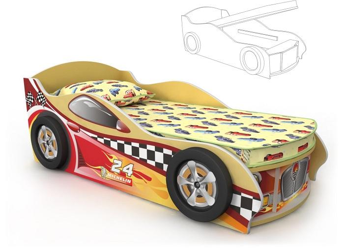 Кровать-машинка с подъемным механизмом желтая с красной наклейкой