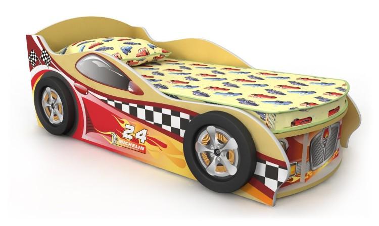 Кровать-машинка желтая с красной наклейкой
