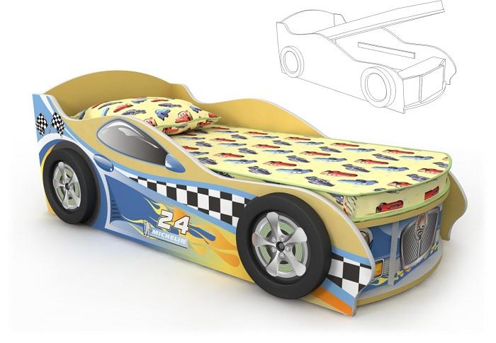 Кровать-машинка с подъемным механизмом желтая
