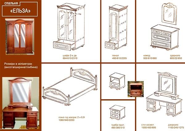 """Схема и размеры спальни """"Эльза"""""""