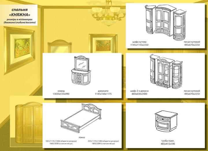 "Схема и размеры спальни ""Княжна"""