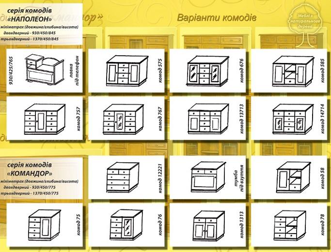 """Схема и размеры комодов """"Командор"""" и """"Наполеон"""""""