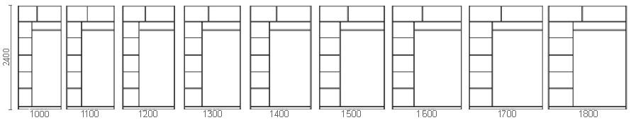 Размерный ряд двухдверных шкафов-купе