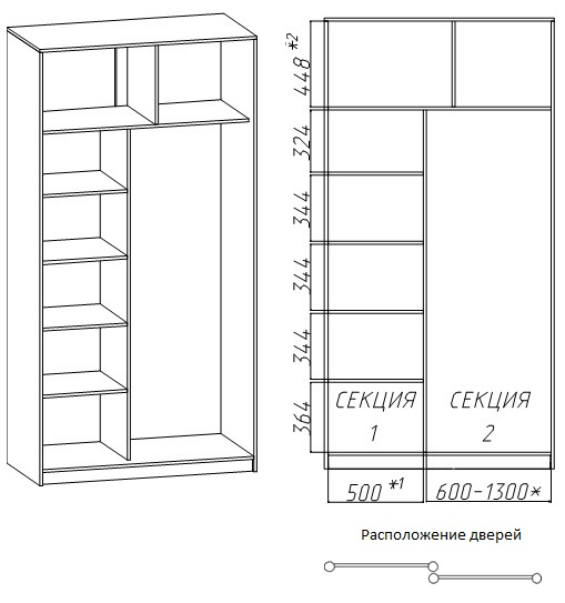 2-дверных шкафов-купе