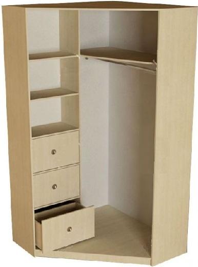 Наполнение скошенного углового шкафа-купе: полки и большие ящики