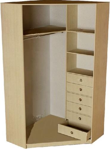 Наполнение скошенного углового шкафа-купе: полки и маленькие ящики