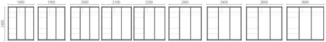 Размерный ряд трехдверных шкафов-купе